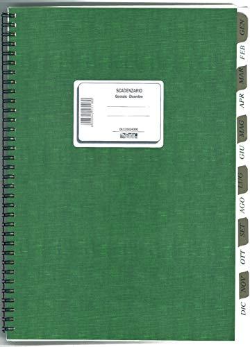 Data Ufficio DU131624000-1Pz Registro Scadenziario Mensile Annuale A4 Spiralato Pagamenti Ufficio - Scadenziario 12 Mesi Fornitori Annuale da scrivania - Gennaio Dicembre