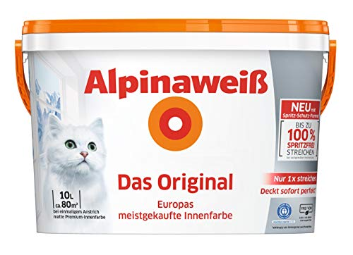 Alpina 5 L. &10 L. weiße Wandfarben für Innen, verschiedene Eigenschaften (10 Liter, Alpinaweiß Das Original - nur 1 x streichen)