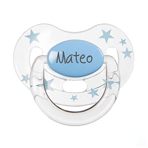Chupete Personalizado con el nombre Estrellas (Celeste centro, 0-6 Silicona)
