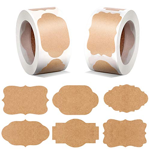 600 Pieces Kraft Paper Gift Tags Christmas Blank Tags Stickers Label Stickers Self-Adhesive Christmas Present Stickers for Gifts, Glass Bottles, 6 Styles