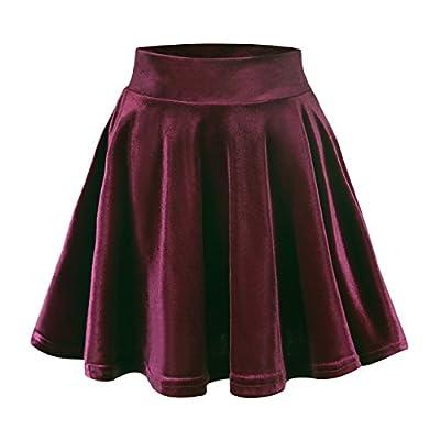 Urban CoCo Women's Vintage Velvet Stretchy Mini Flared Skater Skirt (S, Burgundy) by