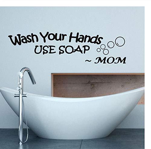 Muursticker Was je handen met Mom'S Woorden met Zeep Muurstickers voor Woonkamer Badkamer Waterdichte Decals Behang Wanddecoratie Home Decor