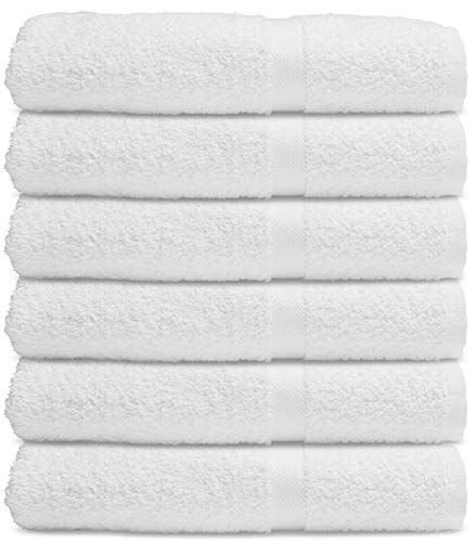 White Cotton Bath Towels for Hotel-Spa-Pool-Gym - Lightweight Soft Absorbent Ring Spun Cotton Bathroom Towel - 24x50 Inch - 6 Pack - White