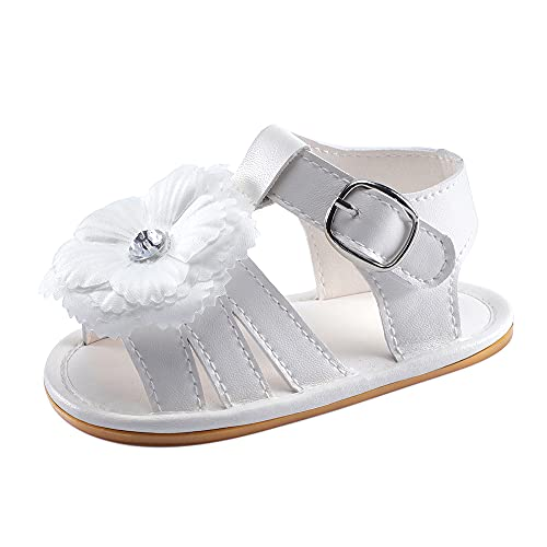 LACOFIA Baby Girls Summer First Walking Shoes Infant Anti-Slip Sandals White 12-18 Months