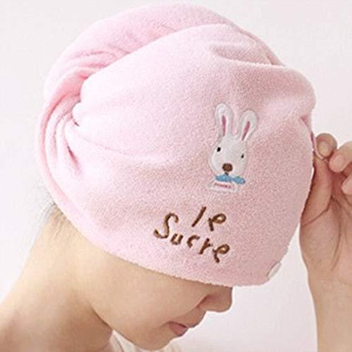 Toalla de secado de pelo con bonitos dibujos animados, suave microfibra toalla de baño dulce pelo de conejo sombrero seco gorro baño spa ducha secado rápido toallas