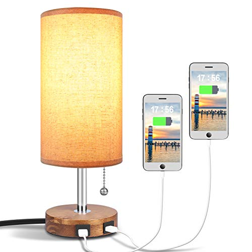 Hong-in USB Table Lamp with Dual USB Port, Solid Wood Desk Lamp, Minimalist Design Nightstand Lamp with Fabric Shade USB Charging Port for Bedroom, Living Room, Coffee Table (Bulb not Included))