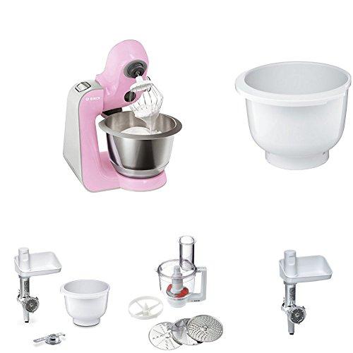 Bosch MUM58K20 CreationLine Küchenmaschine pink + Kunststoff-Rührschüssel + Fleischwolf weiß/aludruckguss + Multimixer weiß/transparend + Lifestyle Set + Eisbereiter + Zitruspresse