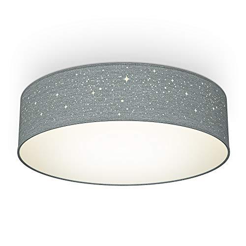 B.K.Licht Plafoniera in tessuto grigio con effetto a stelline, attacco per 2 lampadine E27 non incluse, Lampada da soffitto rotonda diametro 38cm, Lampadario moderno per salotto o camera da letto IP20