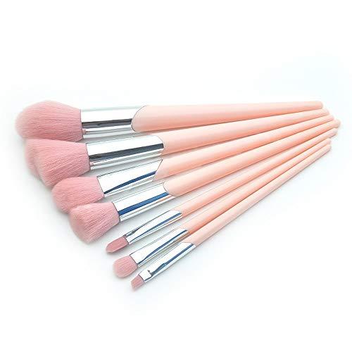 Pinceau de Maquillage 7 Pcs Biseauté Bouche Tube Maquillage Pinceau Set Poignée en Plastique Lâche Poudre Brosse Brosses pour Les Yeux (Color : Rose, Size : One Size)