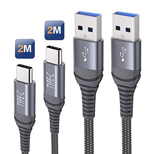 Cavo USB Tipo C 2M 2 Metri,Cavetto Caricabatteria Ricarica Rapida per Samsung Galaxy A20 A20e A40 A50 A70 A51 A71 S20 S21 Plus Ultra,A8 A9 2018,A3 A5 2017,Huawei P30 P20 Mate 20,Xiaomi Redmi Note 7