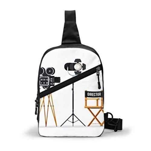 Bolso bandolera para gimnasio, mochila de viaje repelente al agua, bolsos de hombro al aire libre en el pecho, mochila informal cruzada para hombres y mujeres, silla de director, carretes de película