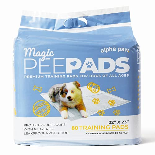 Alpha Paw Magic Pee Pads, Premium Puppy and Dog Training Accessories Pad with Quick-Dry Odor Control Carbon, 22 x 23 (80 Count)