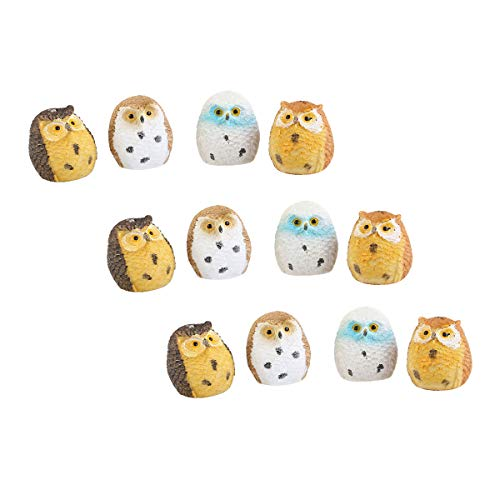 Toyvian 12PCS Miniature Owls Figures Fairy Garden Ornaments Micro Landscape Decorations