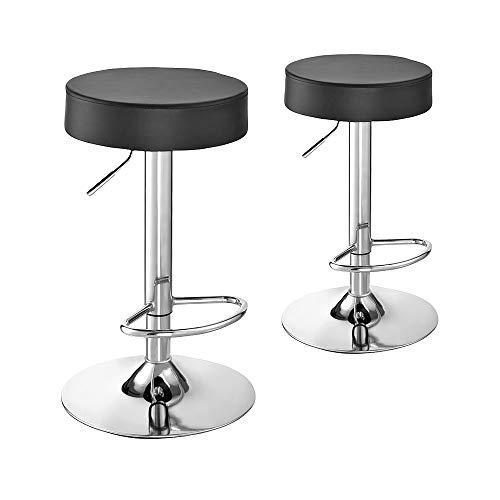Panana - Set di 2 sgabelli da bar regolabili in altezza, in pelle sintetica, girevole a 360°, con poggiapiedi, in acciaio cromato, colore: nero