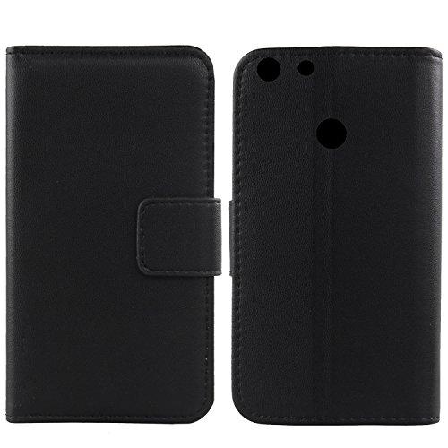 """Gukas Design Veritable Cuir Etui pour Archos 55 Diamond Selfie Lite 5.5"""" Housse Coque Premium Case Cover Flip Protecteur Portefeuille Genuine Leather Wallet (Noir)"""