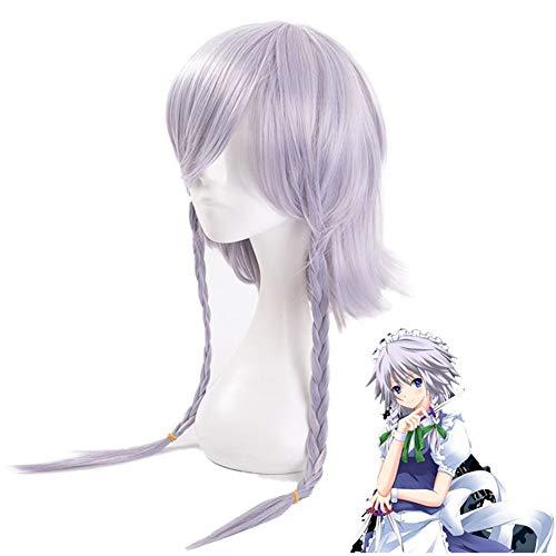 Cosplay Touhou Project Grey Pigtails Wig 23.62in, Izayoi Sakuya Anime Dress Up Pelo Sintético Fancy Game Masquerade Crazy Party Pelucas con Peluca Gratis Net Cap