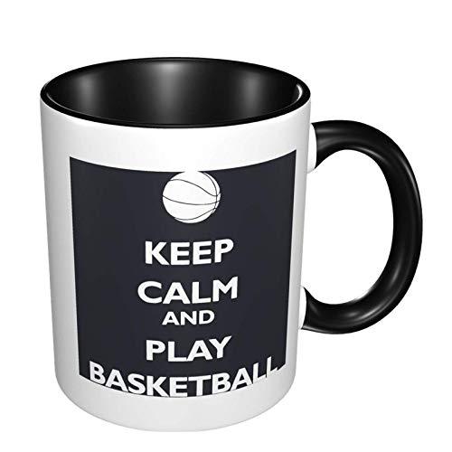 Mantenga la calma y juegue al baloncesto taza de café de cerámica brillante, taza de té para la oficina y el hogar adecuada para microondas