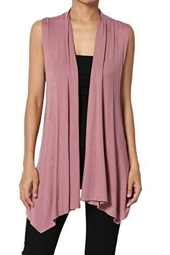 TheMogan Women's Sleeveless Waterfall Jersey Cardigan Asymmetric Vest Mauve 1XL