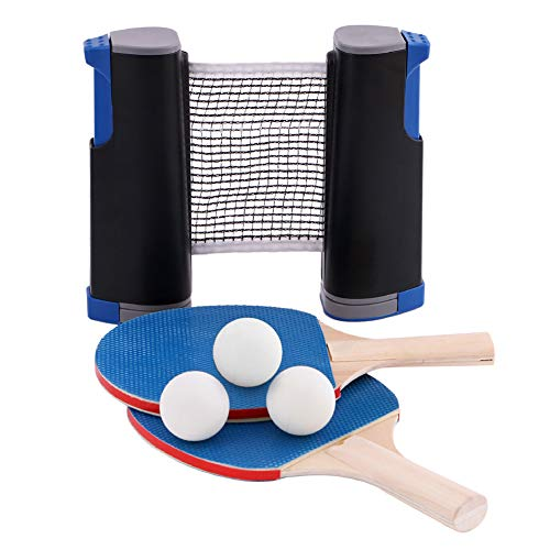 GEEDIAR Instant Ping Pong Ball Set of 3,2 Blue Table Tennis Bats,3 White Balls,1 Black Retractable Net for Kids Adults Indoor Outdoor Game Fits School, Home, Sports Club, Office Anywhere