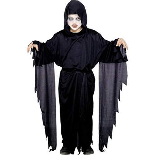 Nick and Ben Geist Kinder-Kostüm Dämon-Verkleidung Sensen-Mann Gespenster-Umhang Gewand Schwarz Erz-Engel Teufel Halloween Scream Sensenmann