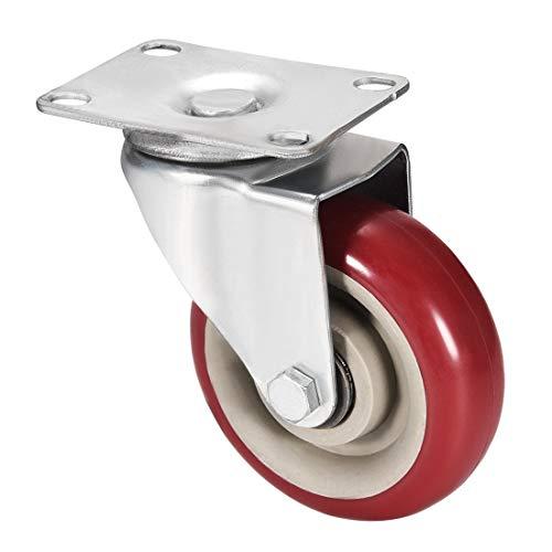 ESUHUANG Rueda giratoria Ruedas 3,83 Pulgadas Dia PU Caster 360 Grados de rotación de la Placa Superior 308lb Capacidad Tienda de Ruedas (Size : 3.83inch 1pcs)
