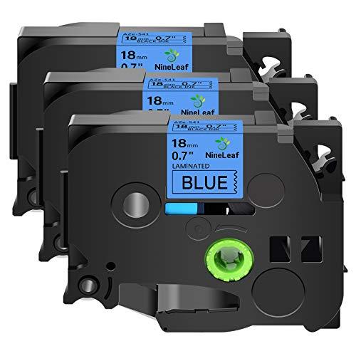 NineLeaf 3PK Black on Blue Laminated Label Tape Compatible for Brother P-Touch 18mm 3/4'' TZe541 TZe 541 TZ 541 TZ541 26.2ft PT-D400 PT-D600 PT-E300 PT-E500 PT-H300 Label Makers Printers