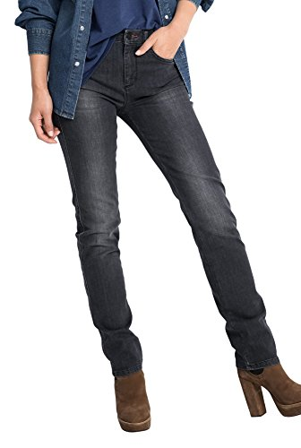 H.I.S Marilyn Jeans in slim fit voor dames/donkergrijze denim jeans met nauwe pasvorm en authentieke vintage wassing/dames jeans in maat