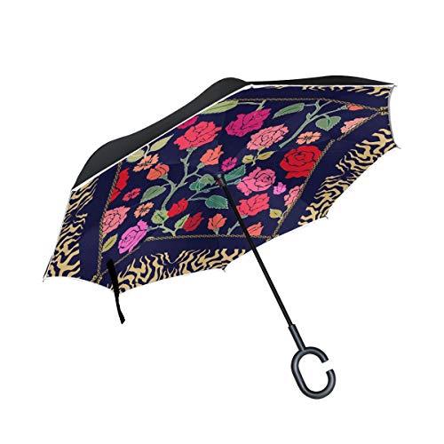 Paraguas invertidas de Doble Capa, Plegable, diseño Gitano, Resistente al Viento, para Coche, Lluvia al Aire Libre, con Mango en Forma de C