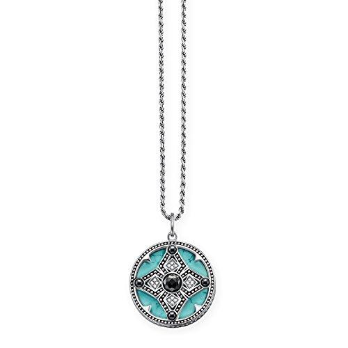 THOMAS SABO Damen-Kette mit Anhänger Ethno Amulett Halzkette 925 Silber Diamant (0.2 ct) weiß Türkis Hämatit 0.14 cm - D_KE0011-358-17-L45