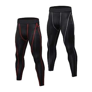 Niksa 2 Piezas Mallas Hombre Running Leggings Deporte Pantalones Largos de Compresión Negro Medium