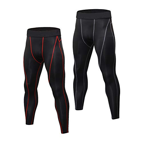 Niksa 2 pezzi Uomo Pantaloni Fitness Abbigliamento sportivo Compressione Leggings,Compression Pants Baselayer for Gym Jogging Running(Black Red 1060 L)