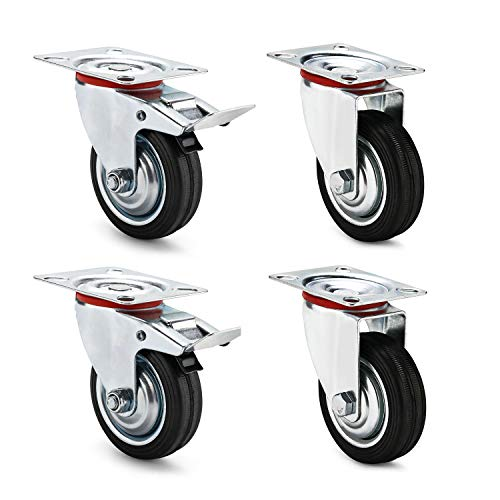AMIGOB 4 Stück 75mm Transportrollen Lenkrollen mit Bremse Schwerlastrollen; 2x Lenkrollen + 2x Lenkrollen mit Bremse;Tragfähigkeit 50KG/Rolle Schwarz Gummi Stahlblech Kapazität 150kg insgesamt