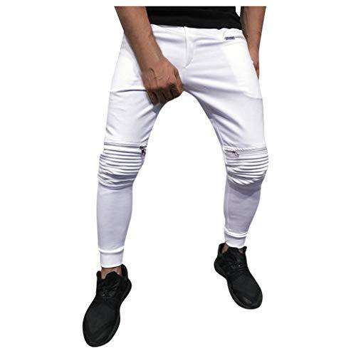 manadlian Pantalons de Sport Cargo Homme Pantalon de Jogging Pantalons de Survêtement Training Zipper Jeans Pants Slim Fit Cuasal Pant en Multi-Pocket Trouser