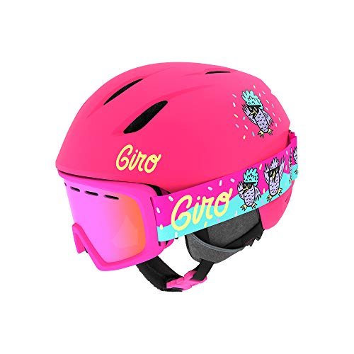 Giro Launch CP Youth Snow Helmet w/Matching Goggles - Matte Bright Pink/Disco Birds - Size S (52–55.5cm) (2021)
