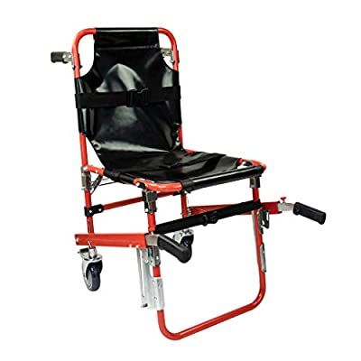 LINE2design Mobile Stair Chair with 2 Safety Brakes - Ambulance Firefighter Evacuation Medical Foldable Aluminum Lift Stair Chair + 3 Adjustable Straps Black Quick Release Buckles - Red