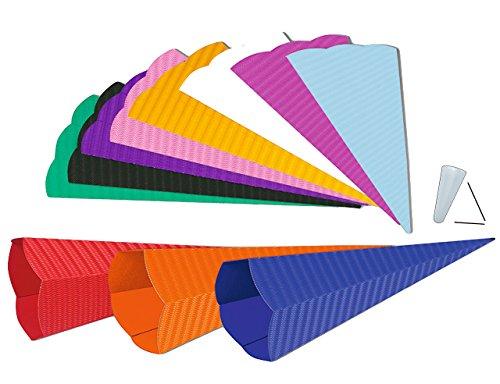 alles-meine.de GmbH Zuckertüte - Rohling aus 3-D Wellpappe - Weiß - 70 cm - mit / ohne Kunststoff Spitze - Schultüte zum selber Basteln - 6 eckig - Bastelschultüte - Bemalen und ..
