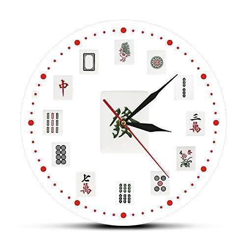 30cm Chino SiChuang Mahjong Juego Reloj de pared de acrílico impreso Torneos de diseño moderno Reloj de movimiento de barrido Zegar Scienny Regalos para el día de la madre Relojes de pared artístico