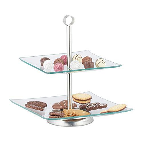 Relaxdays Soporte para Tartas, Cupcakes y Fruta de 2 Pisos, Cristal-Acero, Plateado-Transparente, 28 x 24,5 x 24,5 cm
