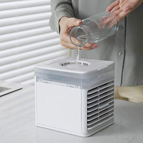 Foryo Personal Air Cooler, Portable Cooling Air Conditioner With USB, 3 in 1 Evaporative Coolers, Humidifier and Purifier, 7 Colors LED Night Desktop Cooling Fan for Office, Home, Travel, Dorm