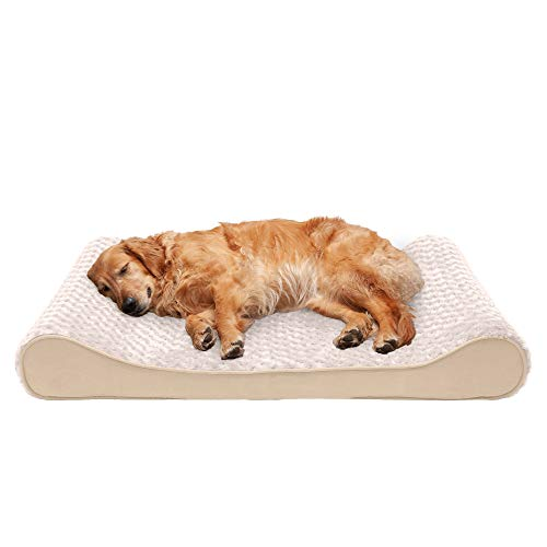 Furhaven Orthopedic Pet Bed for Dogs and Cats - Luxe Lounger Ultra Plush Curly Fur Contour Dog Bed Mattress with Removable Washable Cover, Cream, Jumbo (X-Large)