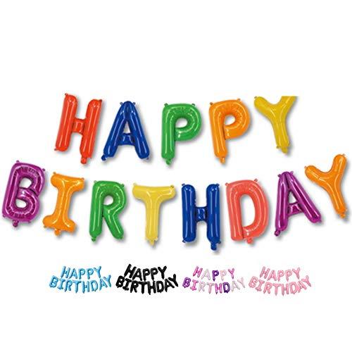 DIWULI, Happy Birthday Luftballon, Folien-Ballon bunt, Folien-Luftballon, Geburtstagsballons, Buchstabenballons Banner für Geburtstag, Kindergeburtstag Junge Mädchen, Party, Dekoration, Geschenk-Deko