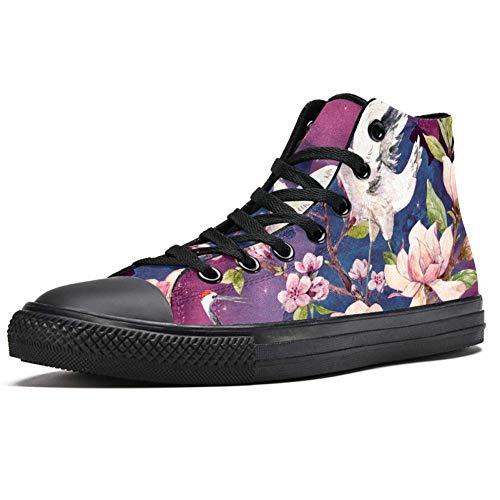 TIZORAX flying Crane on Cherry High Top Sneakers Fashion Schnürschuhe Canvas Schuhe Casual Schule Walking Schuh für Herren Teenager Jungen, Mehrfarbig - mehrfarbig - Größe: 42.5 EU