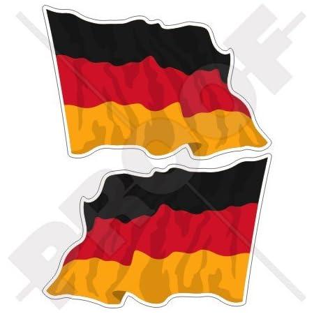 Deutschland Deutsche Wehende Flagge Deutschland 120mm Auto Motorrad Aufkleber X2 Vinyl Stickers Links Rechts Garten
