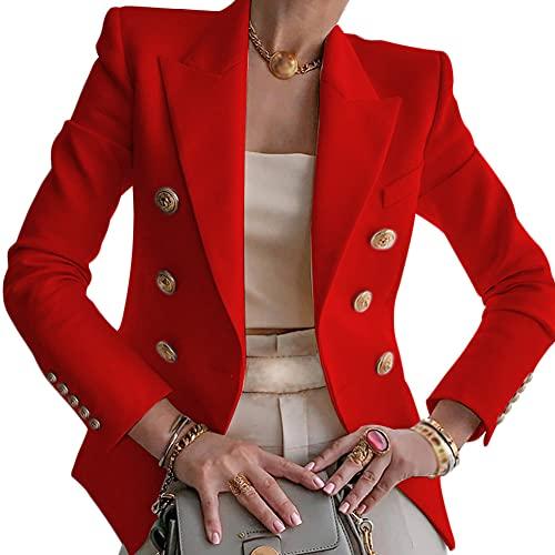 Blazer para Mujer Elegante Mangas Largas Chaqueta con Botones Dorados Corte Slim De Negocio Oficina Color Sólido Blazer Solapa Doble Botonadura,Rojo,XXL
