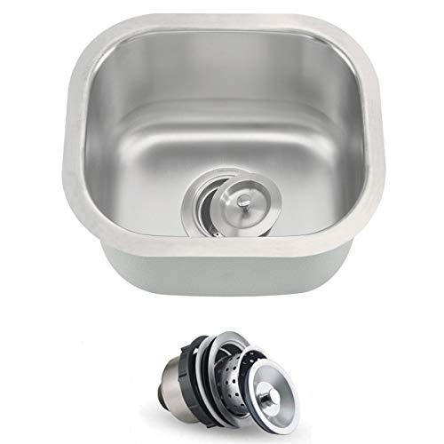 ORLANDO 13 x 13 inch Undermount Single Bowl Stainless Steel 18 Gauge Kitchen Bar Sink With Strainer