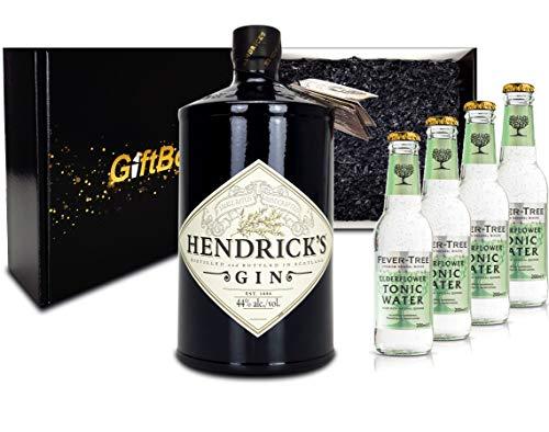 Gin Tonic Giftbox Geschenkset - Hendricks Handcrafted Gin 0,7l (44{8df84b5d66efff051fc1ae65d828013705d3efffdfa6e0ac6b8bb25ab5660790} Vol) + 4x Fever Tree Elderflower Water 200ml inkl. Pfand MEHRWEG- [Enthält Sulfite]