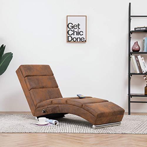 Nishore Relaxliege Liegesessel | Lounge Liege Wohnzimmer Chaiselongue | mit 5 Massagemodi und Heizfunktionin Wildleder-Optik 155 x 51 x 71 cm Braun