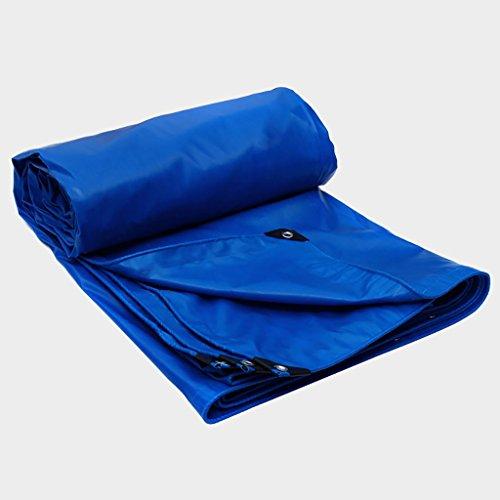 Blauwe dekzeil voor multifunctioneel dekzeil, robuust, zonwering voor de zon, waterdicht, voor kamperen, vissen, tuinieren, dikte 0,5 mm, 520 g/m2