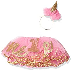 This First Birthday Tutu From Mud Pie Is Pink And Gold With The Number One Written In Words Numerals Matching Party Hat Completes Outfit