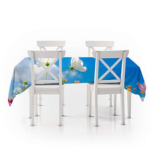 Rechthoekig tafelkleed, fris en eenvoudig, witte bloemen, duurzaam polyester stofdicht, eettafelhoes, gebruikt voor buitenpicknicks, feesten, partijen